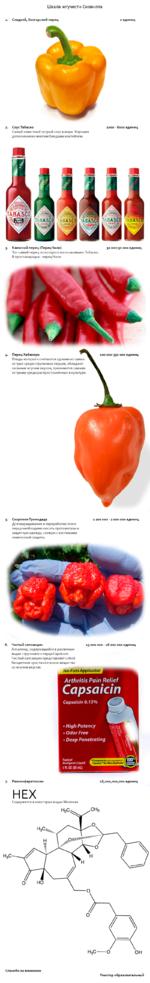 Шкала жгучести Сковилла Сладкий, болгарский перец СоусТабаско Самый известный острый соус в мире. Хорошее дополнениеко многим блюдами коктейлям. Каенский перец (ПерецЧили) Тот самый перец из которого изготавливаютТабаско. В простанародье - перецЧили. 30 000-50 ооо единиц Скорпион Тринидада