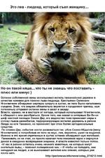 Это лев - людоед, который съел женщину... Но он такой няша....что ты не знаешь что поставить -плюс или минус) Останки собственной жены использовал житель танзанийской деревни в качестве наживки для поимки льва-людоеда. Крестьянин Селемани Нгонгвечиле обнаружил мертвую супругу в кустах; ее тело бы