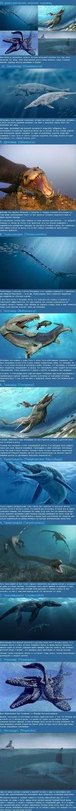 10 доисторических морских чудовищ Некоторые из крупнейших существ, которые когда-либо населяли этот мир, жили миллионы лет назад. Ниже представлены десять самых больших, самых страшных морских чудовищ, некогда рыскавших в океанах: 10. Шастазавр (81па51а5аиги5) Ихтиозавры были морскими хищниками,