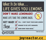 LIFE GIVES YOU LEMONS. DON'T MAKE LEMONADE! MAKE LIFE TAKE THE LEMONS BACK. GET MAD! YELL-I DON'T WANT YOUR DAMN LEMONS! Tfi Л/4 DEMAND TO SEE LIFE'S MANAGER. I f ICft. . . BURN DOWN THEIR HOUSE.* M 'with the lemons. SCIENCE INNOVATORS