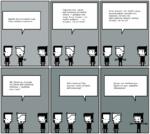 Давай прикольнемся над этим унылым кретином... Эй, братуха, слушай, ты какие веб-комиксы любишь — добрые или злые? У Спросим его, какие веб-комиксы он любит читать — добрые или злые. Если скажет, что любит добрые, — мы скажем, что он гомик. Веб-комиксы? Вы, друзья, тоже читаете веб-комиксы? Ес