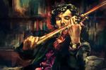 Шерлок играет на скрипке