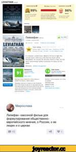 LEVIATHAN (2014) Ä ЦШ) ***** *A M.VSTIRPIECI' ***** **** ***** **** **** 'Амя$?даи''1 **** LEVIATHAN ТОМАТОМ ETER О 99% Average Rating: 8.6/10 Reviews Counted: 67 Fresh: 66 Rotten: 1 PHOTOS All Critics | Top CriticsAUDIENCE SCORE © 86% liked it Critics Consensus: Leviathan lives up to i