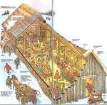 Для удобстве ходьбы по льду или снегу люди прикрепляли к своей обуви железные шипы. Амбар Люди использовали деревянные лыжи или коньки из кости. светильник Стены из деревянных досох Резная огх>ра Гобелены Крыша, крытая соломой