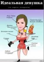 Идеальная девушка (по версии интернета) Умеет быстро делать сендвичи Любит Лицо Эммы Уотсон Кнопка Большие сиськи Дозатор Платье- бекон
