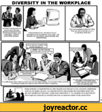 """DIVERSITY IN THE WORKPLACE In today's fast-paced work environment, diversity among co-workers is one of the most exciting - and challenging - aspects of the office dynamic. Understanding is key, and this brochure, presented as an educational """"comic strip,"""" will educate you, the worker, about di"""