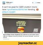 ф А+ Follow И PETAUKO PETAL) К It can't be great for GBK's bottom line to have #gourmetmurderkitchen trending. Ш petauk.org/gbk Gourmet Burger Kitchen: Vegetarians are customers too and we don't want t.. GBK's anti-vegetarian advertising campaign has received a backlash - and we can see why.
