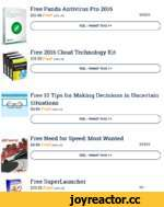 Ponda А/*,™ Pro 2016 Free Panda Antivirus Pro 2016 $2^99 Free! (100% off) sssss r YES, I WANT THIS» Free 2016 Cloud Technology Kit $1*99 Free! (100% off) r YES, I WANT THIS» M Tfet h< ИМ) CwMtm it UkvUM SaaMoM  Free 10 Tips for Making Decisions in Uncertain Situations $*99 Tree! (100%