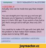 : Anonymous 03/27/16(Sun)05:47:31 No.25727890 >>25727841 # Actually, futa can be made less gay than straight porn. You see straight porn has one guy and one girl. Because you're tapping to something with one guy in it, that's 50% gay. If you watch a futa fuck a girl, that's one girl and a half gi
