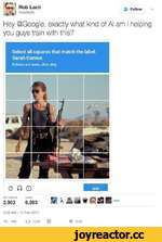 """V £» Rob LachFo""""ow ©lachrob Hey ©Google, exactly what kind of AI am I helping you guys train with this? Select all squares that match the label: Sarah Connor. If there are none, click skip. c ft © SKIP RETWEETS 3,903 UKES 6,393 suite nuxi 3:28 AM- 15 Feb 2017 4> 10613 3.9K Cl V 6.4"""