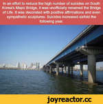 In an effort to reduce the high number of suicides on South Korea's Mapo Bridge, it was unofficially renamed the Bridge of Life. It was decorated with positive affirmations and even sympathetic sculptures. Suicides increased sixfold the following year.
