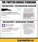 """THE TWITTER DOUBLE STANDARD HATE WHITE PEOPLE"""" = FREE EXPRESSION AND """"NO VIOLATION"""" I fucking hate[white]people and their inconsiderate asses for voting for Trump. Fuck you. 1:57 am • 9 Nov 2016 Thank you for reporting this Issue to us. Our goal is to create a safe environment for everyone on T"""