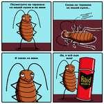 Посмотрите на таракана на вашей кухне и на меня л И снова на меня. Снова на таракана на вашей кухне... Да, я всё еше жив!
