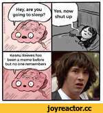 Hey, are you going to sleep? Keanu Reeves has been a meme before but no one remembers Yes, now shut up