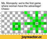Ms. Monopoly: we're the first game where woman have the advantage! Chess: