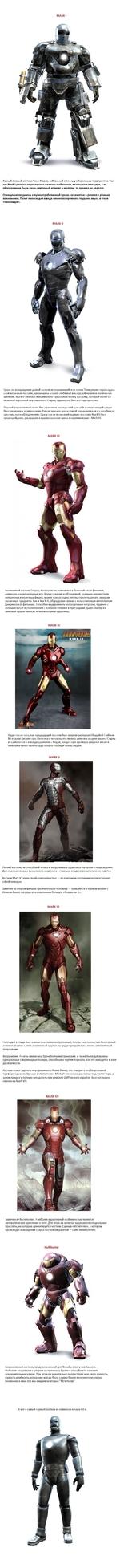 MARK I Самый первый костюм Тони Старка, собранный в плену у оборзевших террористов. Так как Mark I делался из различных железок и обломков, валявшихся в пещере, а из оборудования были лишь сварочный аппарат и молоток, то прожил он недолго. Оснащение сводилось к пуленепробиваемой броне, огнеметам