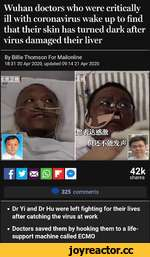 Wuhan doctors who were critically ill with coronavirus wake up to find that their skin has turned dark after virus damaged their liver By Billie Thomson For Mallonllne 18:31 20 Apr 2020, updated 09:14 21 Apr 2020  42k shares 325 comments •Dr Yi and Dr Hu were left fighting for their lives a