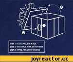 STEP 1 - CUT A HOLE IN A BOX STEP 2 - PUT YOUR JUNK IN THAT BOX STEP 3 - MAKE HER OPEN THE BOX