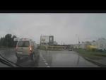 Dismantling of advertising! Демонтаж рекламы!,Autos,,Crashed into a billboard Врезались в рекламный щит