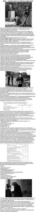 Мать - основа мира российских подростков Уральские социологи провели исследование, что представляет из себя мир местных подростков. Выяснилось, что половина из них - из неблагополучных семей, а наибольшее доверие у них вызывает мать. Все остальные общественные институты просто отсутствуют в жизни